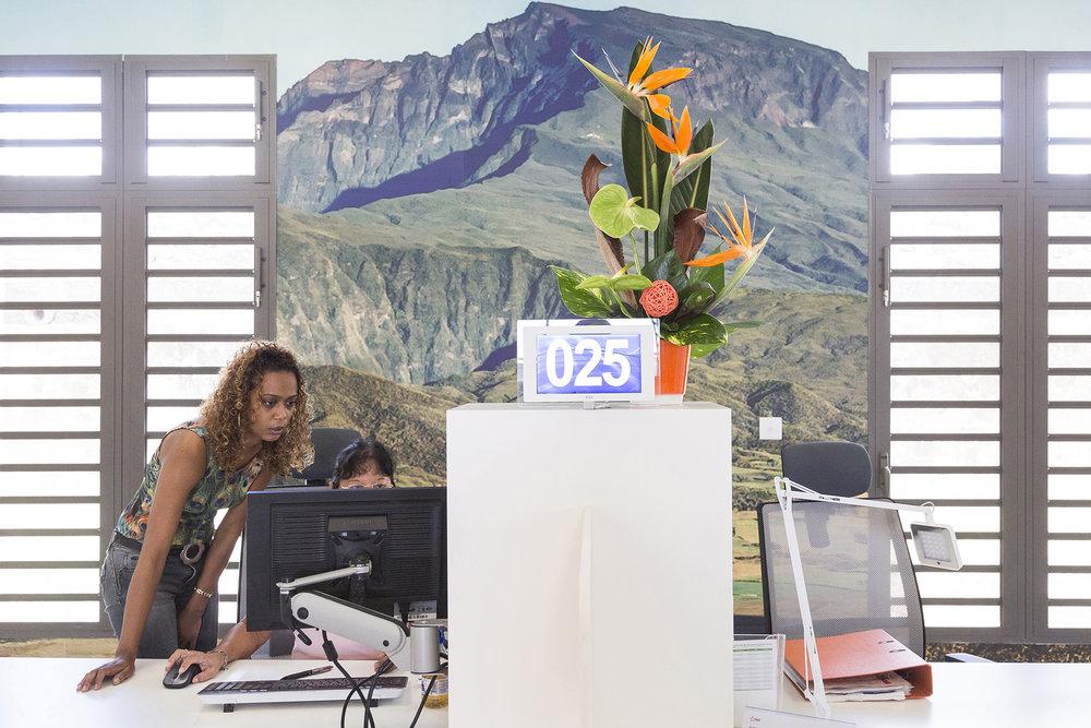Janvier 2016. Agence clientèle - St Pierre. Ile de La Reunion, Océan Indien