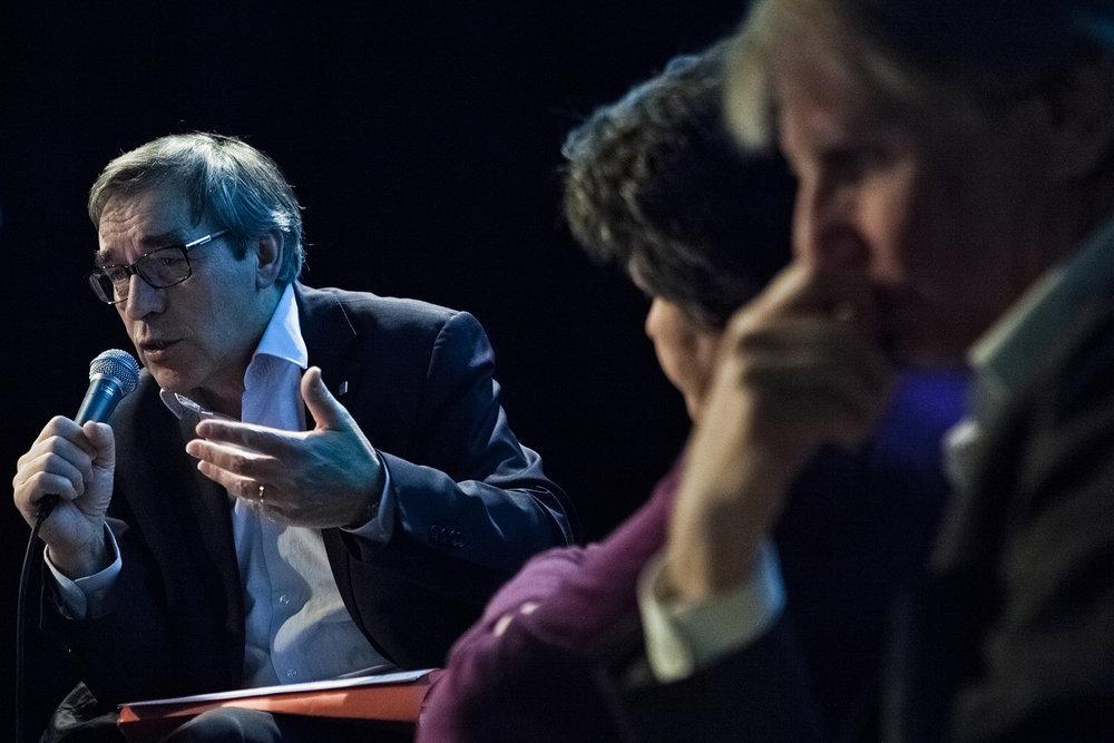 22 et 23 février 2013, débat entre Gilbert Coulombel ( à gauche), Directeur du réseau du bassin parisien BNP Paribas, Catherine Barbaroux ( au centre), Présidente de l'ADIE et Patrick Braouezec ( à droite), Président de Plaine Commune.