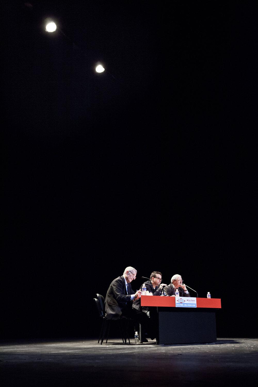 22 et 23 février 2013, Débat entre Guillaume Pépy ( à gauche), Président de la SNCF et Jean-Paul Huchon ( à droite), Président de la Région Île-de-France avec comme médiateur Nicolas Demorand (au centre), Directeur de la publication et de la rédaction du quotidien Libération.