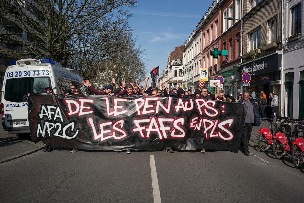 Manifestation Antifa. Lille, le 26 mars 2017.
