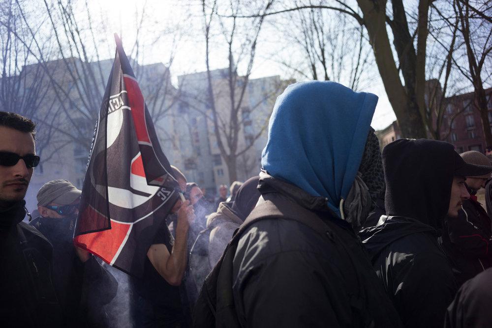 Manifestation Antifa en marge du meeting de Marine Le Pen à Lille. 26 mars 2017