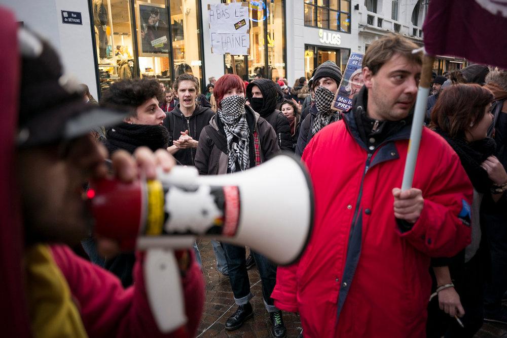 Mobilisation citoyenne à Lille entre les deux tours des élection Régionales. Décembre 2016.