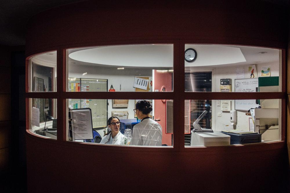 La Seyne sur mer, le 11 Octobre 2016. Salle de garde des infirmières de nuit.