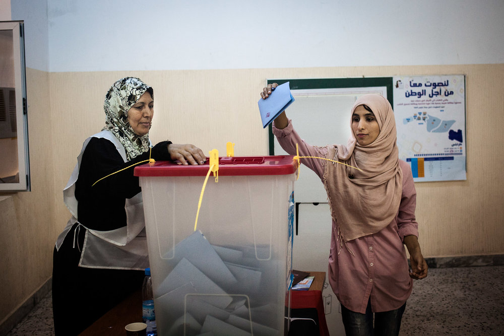 Tripoli, 7 Juillet 2012, bureau de vote pour femmes, lors des élections legislatives.