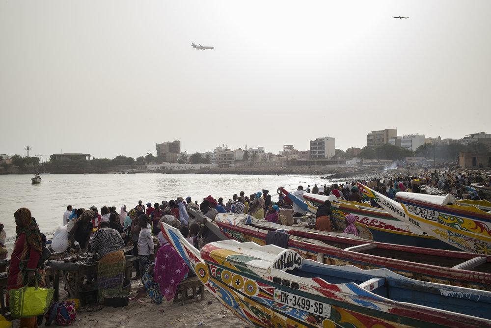 Zone de débarquement aménagée de Soumbédioune, Dakar, Sénégal.