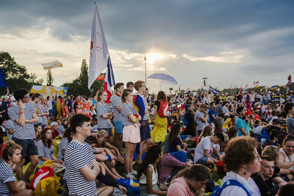 26 juillet 2016 : JMJ à Cracovie. Messe d'ouverture des JMJ dans le parc du Blonia à Cracovie, Pologne.