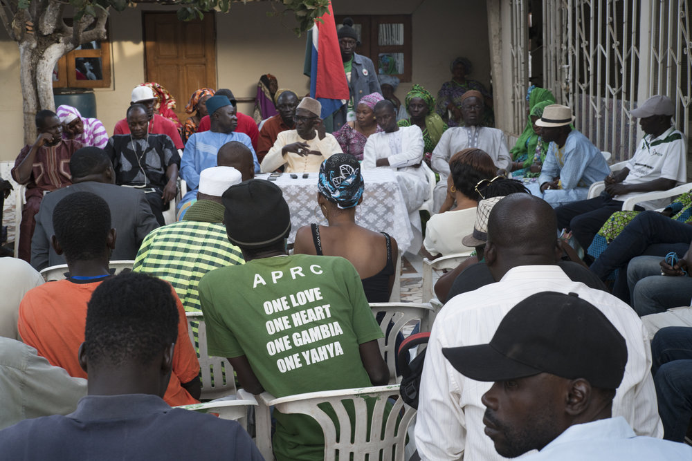 Serrekunda, Gambia. January 2018Press conference of the Alliance for Reorientation and Patriotic Construction (APRC) activists in Taliding District of Serrekunda, at the party's interim leader's place. Victims of violence, they expressed their distress with the press. On January 10, 2018, in Busumbala, while they were campaigning for the 12th of April local elections,  supporters of Yahya Jammeh Several were injured during clashes with the activists of the United Democratic party (UDP), a political formation from which the current Gambian President Adama Barrow emerges. The APRC wants these clashes to be punished.