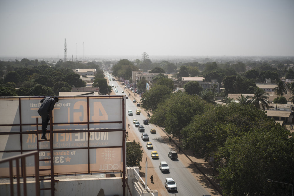 View from the roof of Qcell telecom company. Serrekunda, Gambia. January 2018In Gambia like elsewhere, the future of the media field largely depends on private telecommunication companies to finance and spread information.