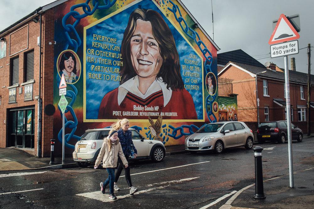 Belfast, le 23 Février 2017. Fameuse fresque de Bobby Sands, premier gréviste de la faim à décéder. Peinte par Danny Devenny, membre de l'IRA.