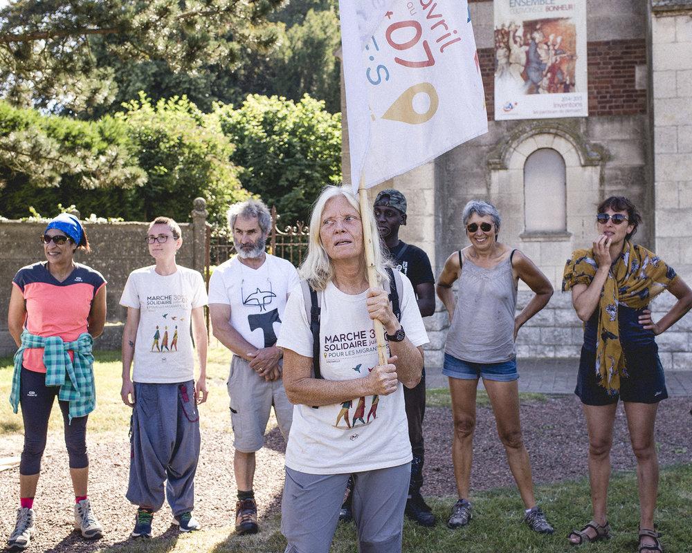 Marche Solidaire pour les Migrantes, etape Senlis vers Saint-Quentin, 23-28.07.2018