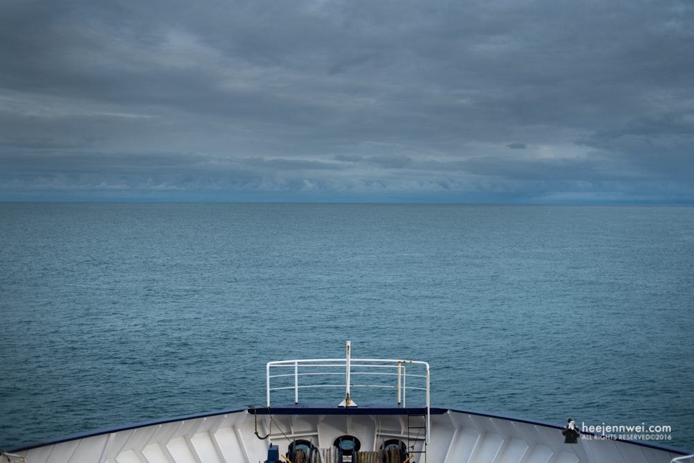 The next morning, ferry transfer from Wellington to Picton (South Island).