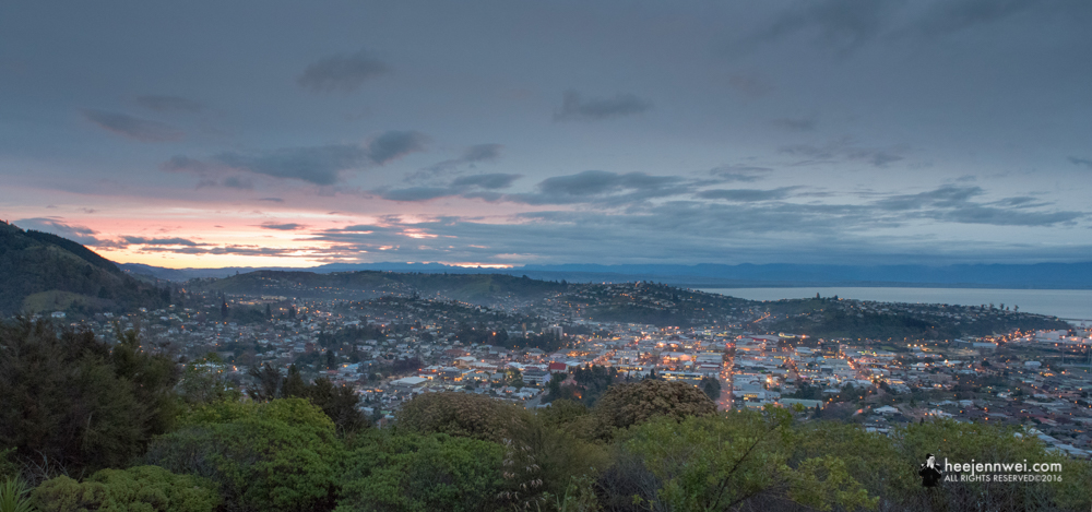 Evening Cityscape of Nelson, at Centre of New Zealand lookout point.