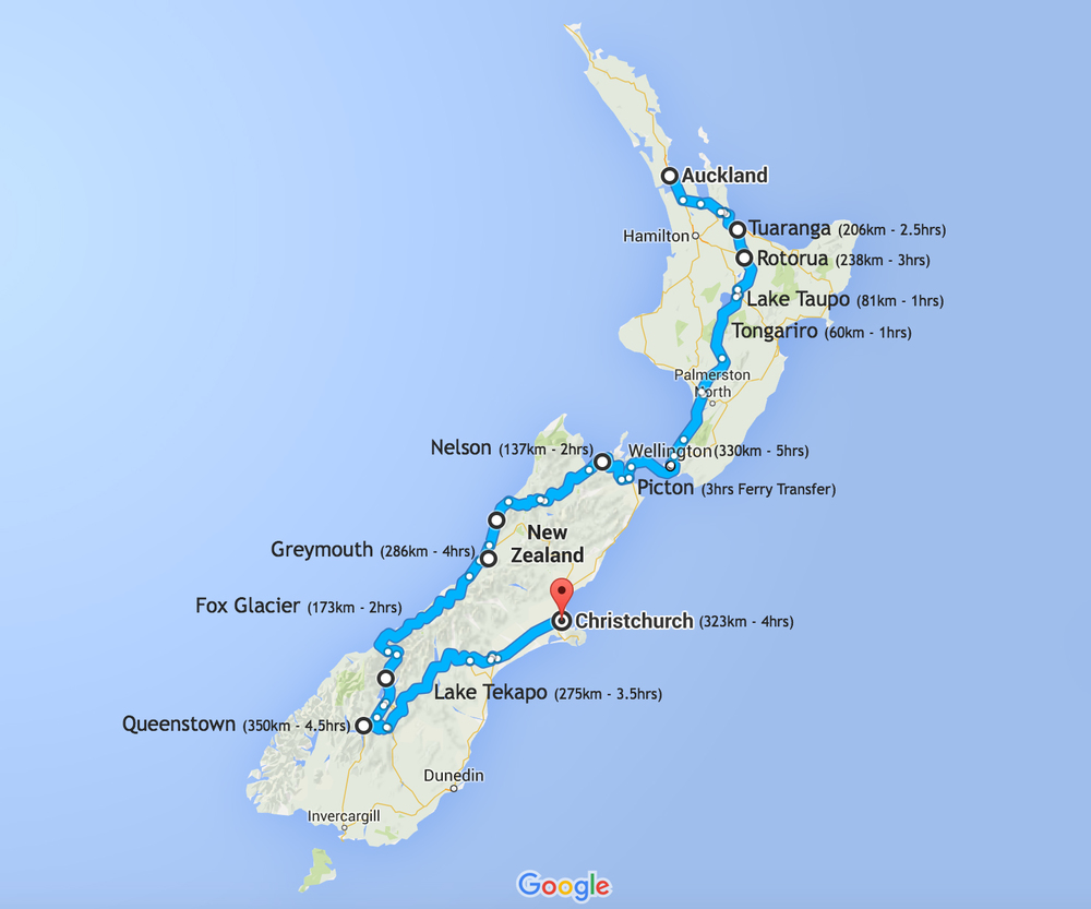 3,500km roadtrip from Auckland to Christchurch; with flight from Christchurch back to Auckland.