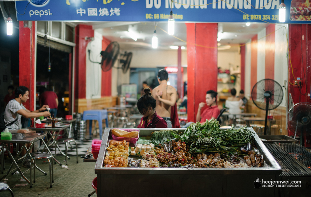 It's okay to just indulge every once a travel, as usual, we splurged on our last meal in Vietnam. Possibly the best street food in Hanoi! The workers here don't speak English, here's how you order your foods, basically just walk to where foods are, pick the foods you want into the basket, they will cook for you in perfection - then place the perfectly barbecue-d foods on the hotpot, to keep it warm. Highly recommended -  Thai Dat .