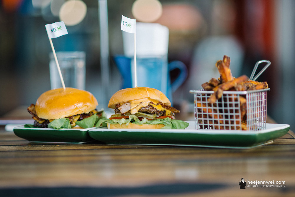 A local chain fixing up heaping gourmet burgers with eclectic fillings and fun names, Burger Urge at Mackay Town.
