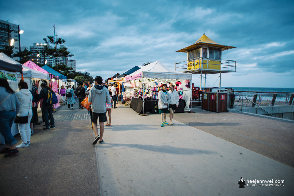 Evening at the Surfers Paradise Beachfront Markets.