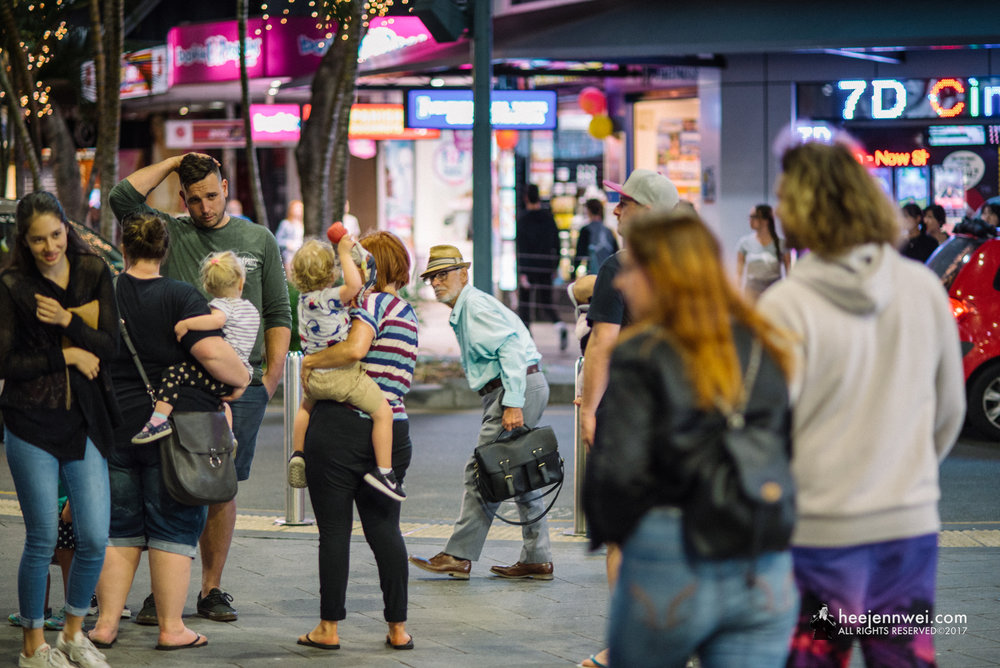 "Hang out at the Esplanade Surfers Paradise after dinner;, get your prime lens ready for a ""bokehlicious"" Street Photography!"
