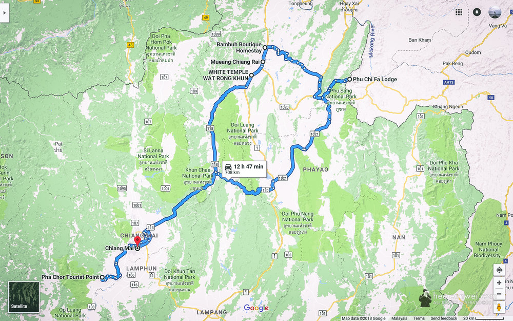 A 6-day laid back Northern Thailand itinerary, 708km.