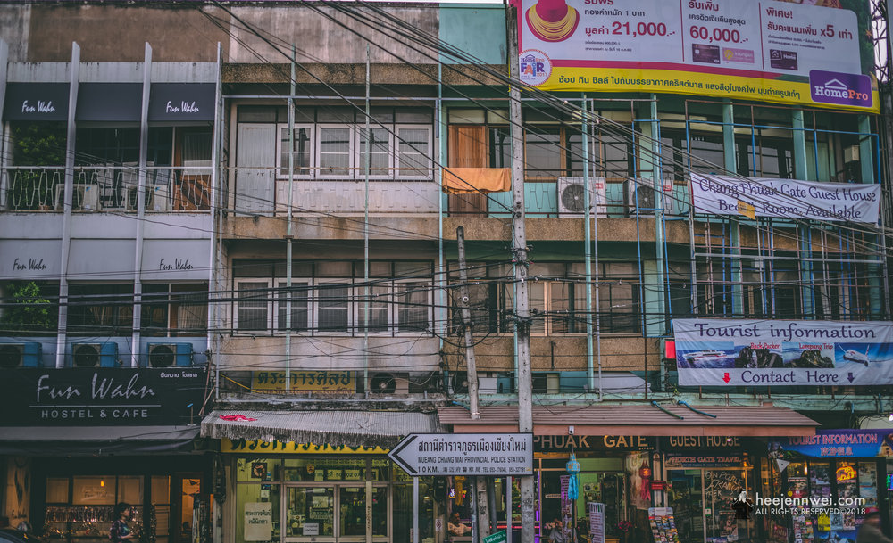 Buildings in Chiang Mai are mostly quiet and low rise, and many old styled buildings can still be found within and outside of the Old City walls.