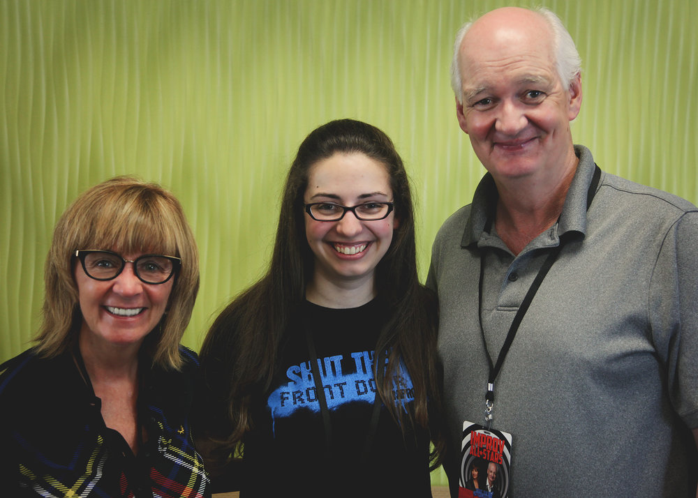 Deb McGrath, Megan Lunter, and Colin Mochrie backstage at STFD's second Improv All-Stars