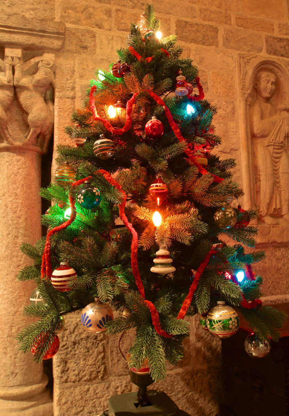 This tabletop World War II Christmas tree in Glencairn's Great Hall is featured in the Museum's  Christmas Traditions in Many Lands  exhibition (Friday, November 27, 2015 through January 10, 2016). Credit: Glencairn Museum.