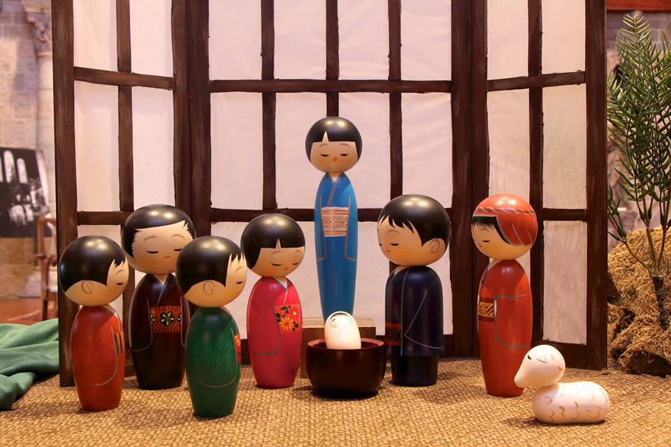 This nine-piece Nativity was designed by Hajime Miyashita for the company Kokeshi Designs. The making of Kokeshi dolls is recognized as a traditional folk art in Japan. These figures have peaceful smiling faces, and their heads are slightly bowed in reverence for the Christ Child. This Nativity was part of the 2015  World Nativities  exhibition at Glencairn. Credit: Glencairn Museum.