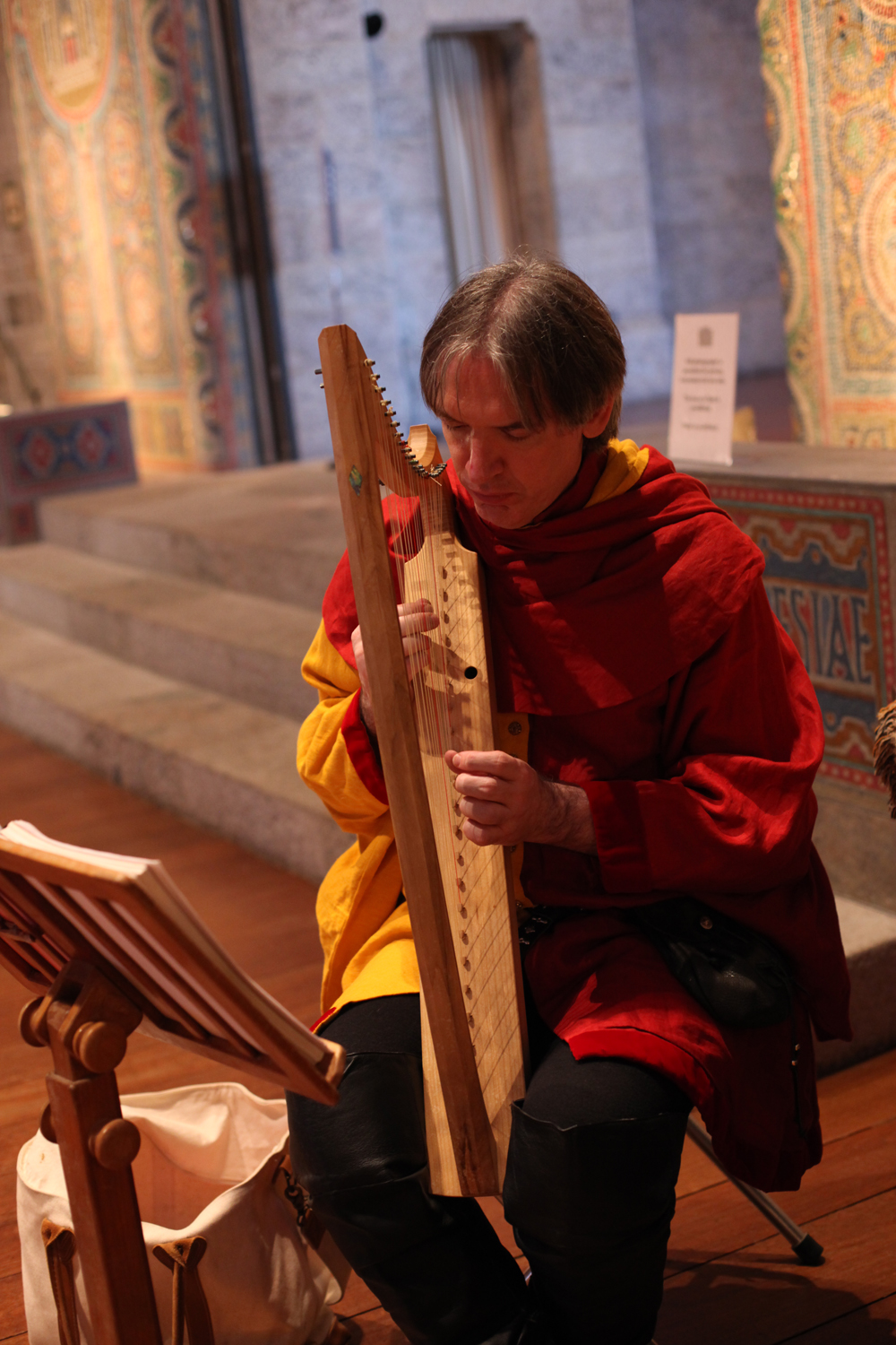 Paul Butler of New Jersey plays medieval music on replica medieval instruments.