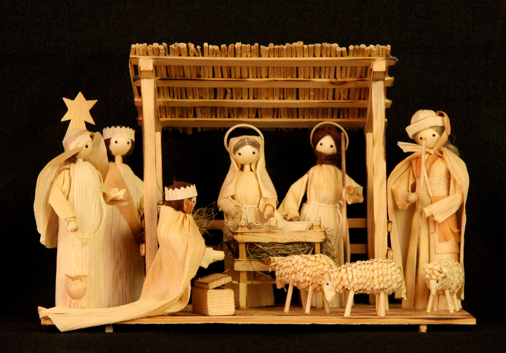 Corn-husk Nativity. Bratislava, Slovakia, 2009. This Nativity, designed by Peter Palka using a traditional Slovak form of folk art, is based on the one that took first place in the 1994 International Crèche Festival in Bellingham, Washington State, USA. It is made of corn husk, a material used by folk artists in Slovakia to make Christmas and Easter scenes, as well as scenes representing the traditional way of life in rural Slovak villages. Collection of Glencairn Museum.