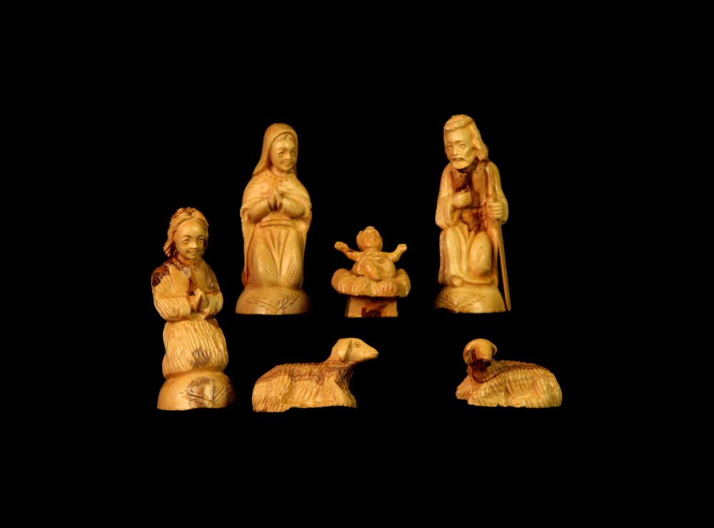 This olivewood Nativity was made by Palestinian Christians on the West Bank of the Jordan River. According to the New Testament the birthplace of Jesus was Bethlehem, a city on the central West Bank about six miles south of Jerusalem. Olivewood carving has provided local residents with a livelihood since the 16th and 17th centuries, when Franciscans taught the craft to local residents, who then began making small religious souvenirs for pilgrims. The wood comes from branches left over from the pruning of olive trees. Collection of Glencairn Museum, gift of Ten Thousand Villages.