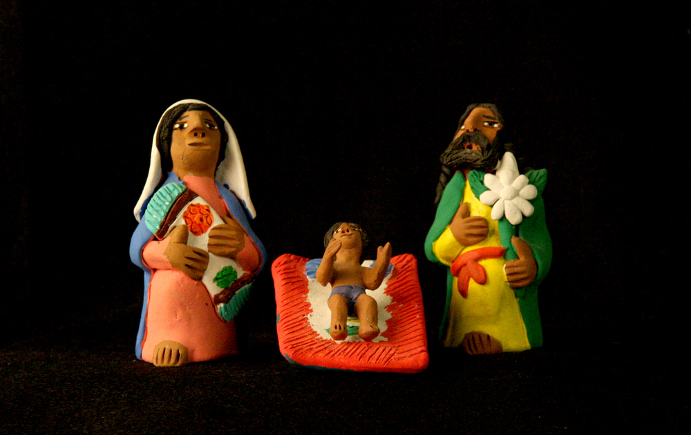 Painted ceramic Nativity by Josefina Aguilar, Octolán de Morelas, Oaxaca, Mexico, circa 1990. Josefina is perhaps the best known of the four Aguilar sisters, Mexican folk artists who live in Octolán, a village near the city of Oaxaca. Josefina was the first of her sisters to achieve international recognition when Nelson Rockefeller began collecting her pieces in the 1970s. Today the folk art of the Aguilar sisters can be seen in museums and private collections around the world. Collection of Glencairn Museum, gift of Rita Bonaccorsi Bocher and Frank and Mary Bonaccorsi Herzel.