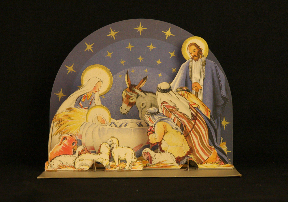 Paper Nativity by Maud and Miska Petersham, United States, 1933. The Petershams were a husband-and-wife illustration and writing team who produced many books for children. In 1931 they published a Nativity book, The Christ Child, with text taken from the Gospels of Matthew and Luke (Garden City, NY: Doubleday). This pop-up paper crèche, produced in 1933, is adapted from illustrations in that book. In 1949, while living in Glencairn, Raymond and Mildred Pitcairn gave over 100 copies of The Christ Child as gifts to family and friends. The Pitcairns also commissioned two watercolor paintings by Maud Petersham that they used as Christmas cards in the 1960s. Collection of Glencairn Museum.