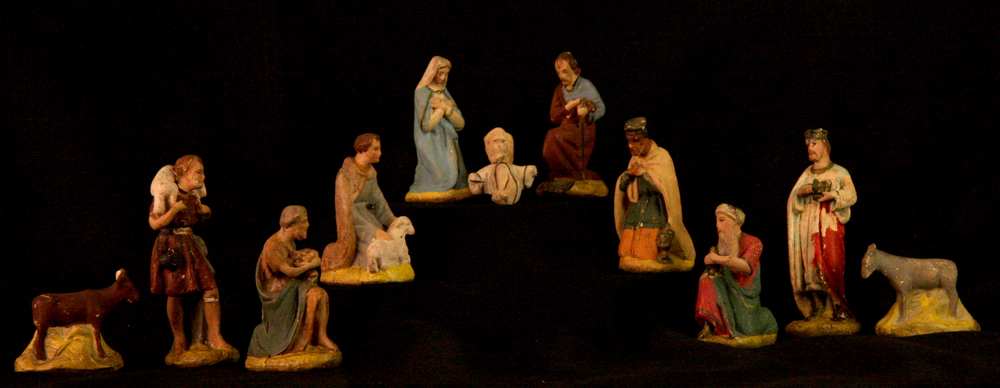This Nativity set, which shows the shepherds and wise men in the act of adoration, was probably made in southern Germany around 1920. Figures like these were a cottage industry, made in small quantities in homes and sold by peddlers who traveled around Germany and neighboring countries. Chalkware sets were common in both middle class and lower middle class homes. Collection of Glencairn Museum.