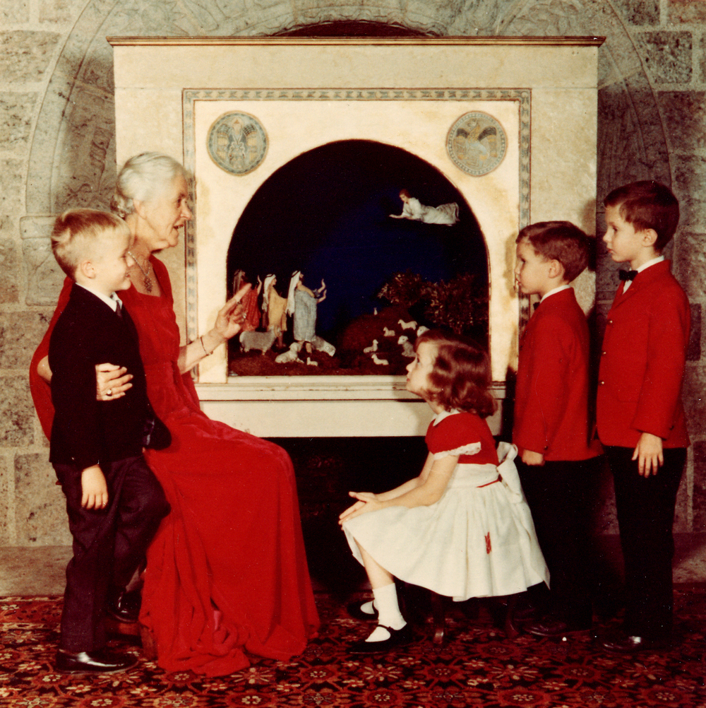 Mildred Pitcairn at Glencairn with her grandchildren in 1967, in front of a Nativity scene made for the Pitcairn family in the 1920s by Winfred S. Hyatt. Photo courtesy of the Glencairn Museum Archives.