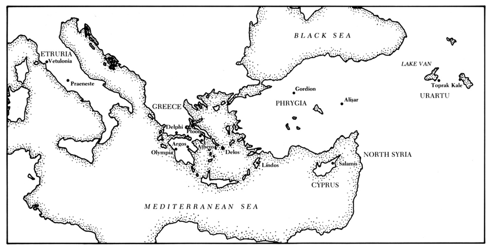 "Figure 7: Map of Mediterranean and Near East with sites where siren cauldron attachments have been found. Drawing by Julie Cowan in D. G. Romano and V. C. Pigott, ""A Bronze Siren Cauldron Attachment from Bryn Athyn,"" MASCA Journal 2 (1983), 124."