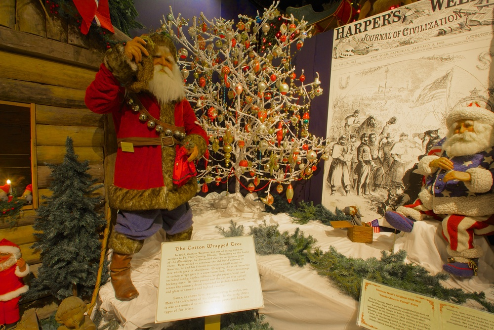 Figure 9: The Christmas Around the World exhibit at the National Christmas Center. In America, visual depictions of Santa Claus evolved throughout the 19th century. By the 20th century he was usually shown wearing a red suit with white trim.