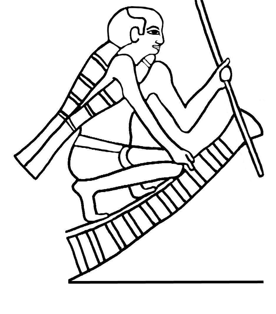Figure 6: Detail from a boating scene from the Fifth Dynasty (2500-2350 BCE) tomb of Ti at Saqqara. The man wears what appears to be a reed life preserver that takes the form of the s3 sign.