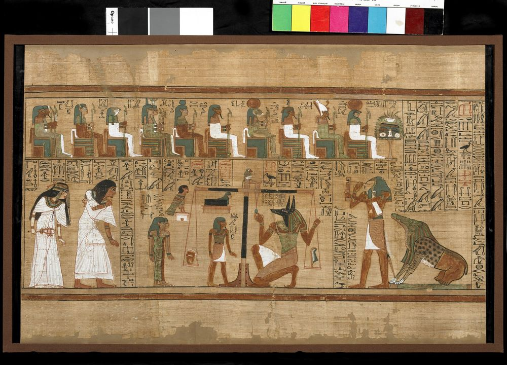 Figure 8: Scene showing the weighing of the heart. The devourer demon, Amamet, crouches at the bottom right behind the god Thoth. From the Book of the Dead papyrus of Ani dating to the Nineteenth Dynasty of the New Kingdom (ca. 1292 BCE). British Museum EA10470, 3.