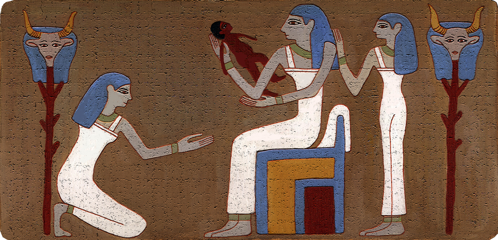 Figure 18: Reconstructed painting of the scene of the mother and newborn baby on the bottom of the brick.