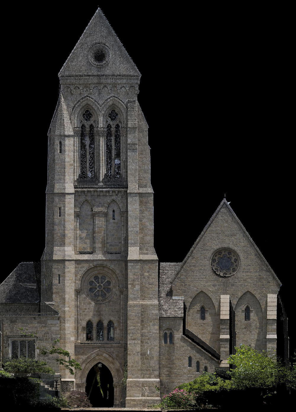 Figure 2: Bryn Athyn, Cathedral of the New Jerusalem, laser scan: Ezekiel Tower, elevation from the west.