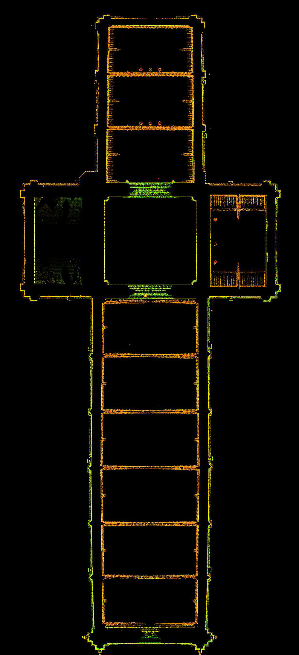 Figure 7: Bryn Athyn, Cathedral of the New Jerusalem, laser scan: plan above the clerestory windows.