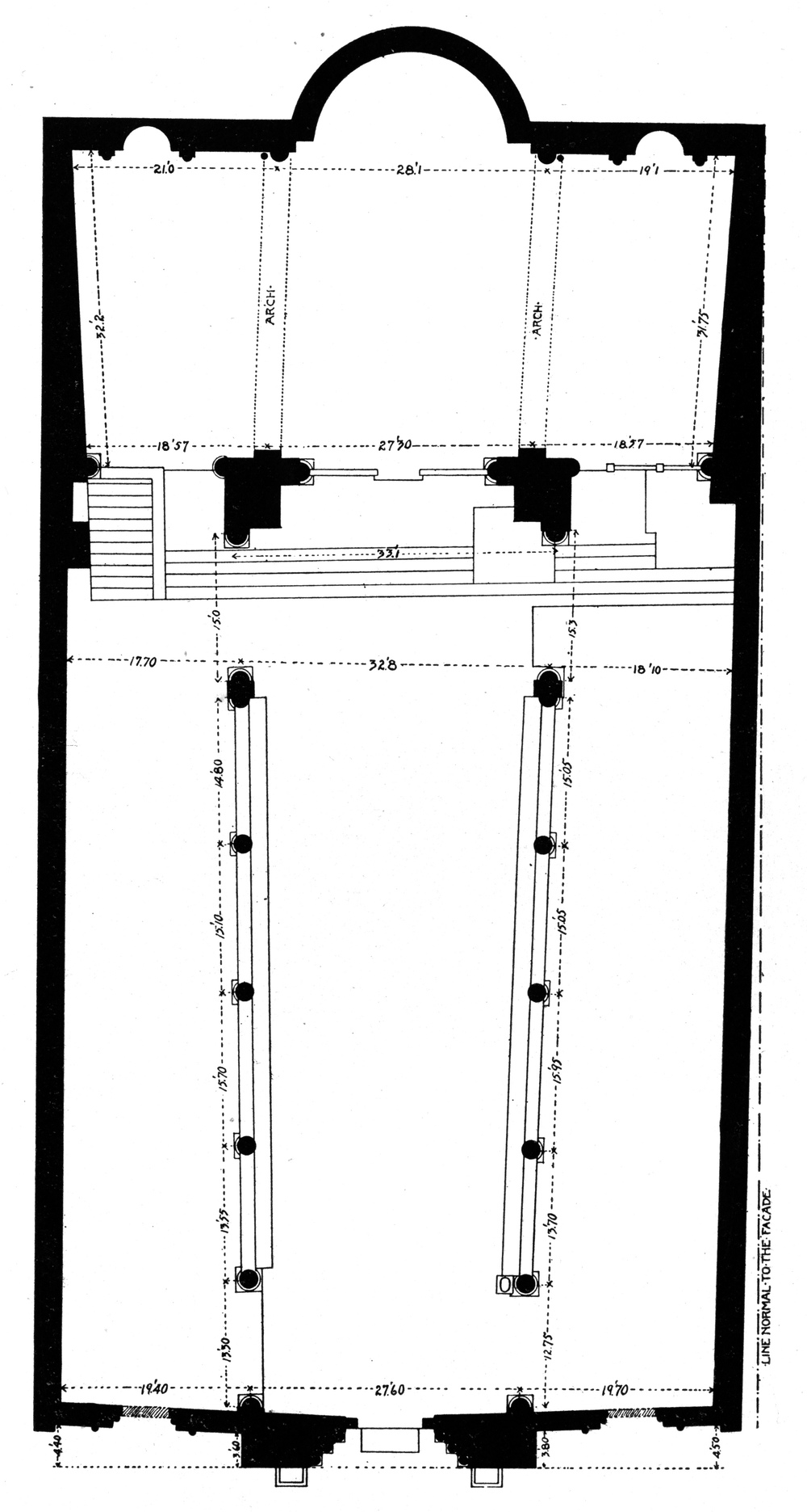 "Figure 11: San Pietro in Tuscania, plan, as drawn by William Goodyear (""Modern Church Architecture and Medieval Refinements,"" in  American Churches , New York: The American Architect, 1915, vol. 1, 6)."