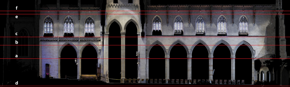 Figure 12: Bryn Athyn, Cathedral of the New Jerusalem, laser scan: elevation of the southern main vessel wall.