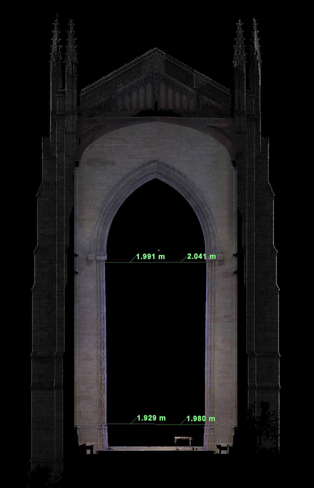 Figure 16: Bryn Athyn, Cathedral of the New Jerusalem, laser scan: section through the sanctuary arch.