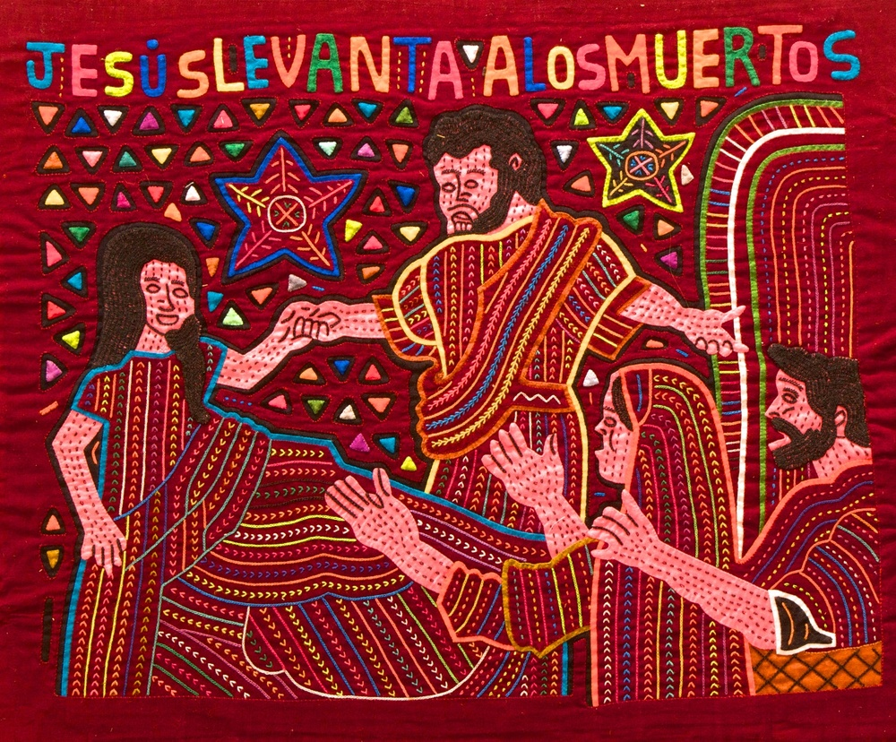 "Figure 9: Jesus Raises the Dead. Jesus holds the hand of a young girl as she comes back to life. Earlier a synagogue leader had approached Jesus to heal his sick daughter, but she died before they could reach her. ""Don't be afraid; only believe,"" said Jesus, before raising her from the dead. This mola captures the parents' amazement as they reach out to embrace their daughter after the miracle."