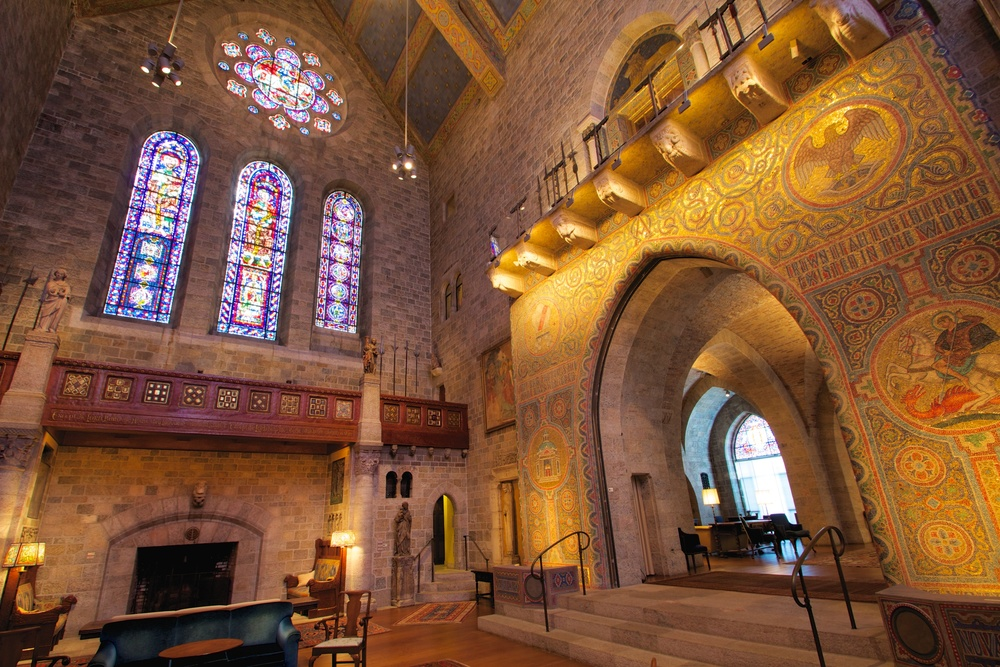 A monumental glass mosaic in Glencairn's Great Hall depicts the seal of the Academy of the New Church.