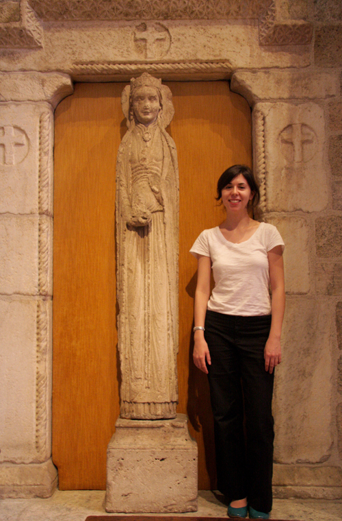 Julia Perratore with 12th-Century Haloed Queen from St.-Thibaut, Provins, France