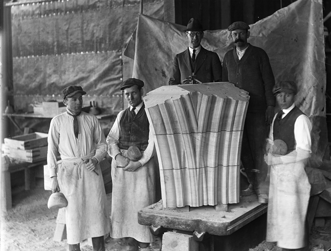 John Walker (Center) and Four Bryn Athyn Cathedral Stone Carvers
