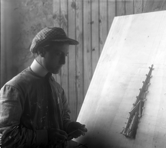 Felice Sabatino Working on a Scale Model of a Pinnacle