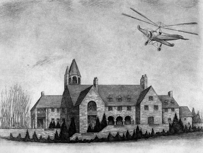 Pencil Drawing of Autogiro in Flight over Cairncrest