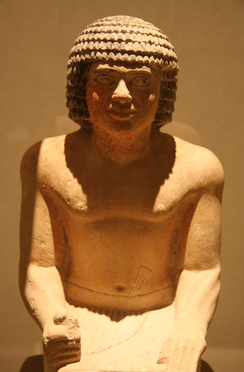 "A seated ""ka statue"" of Tep-em-ankh, in the permanent collection of the Roemer- und Pelizaeus- Museum in Hildesheim, Germany."